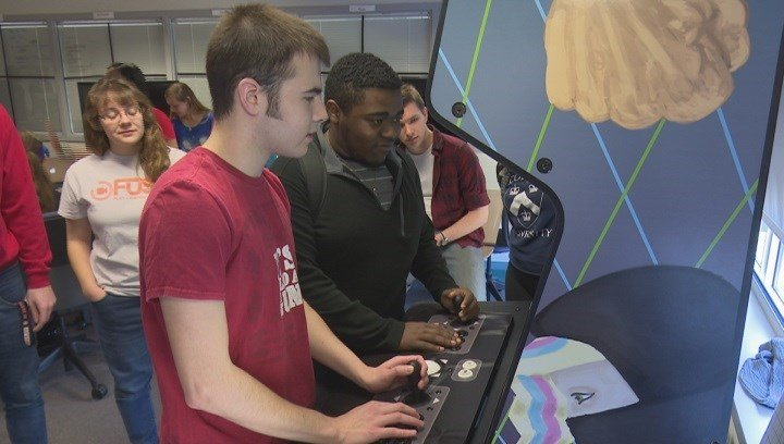 Students took an opportunity to test each other's games across multiple consoles