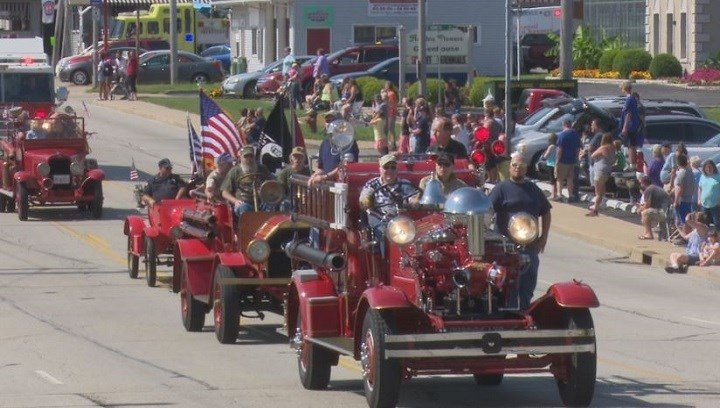 Trucks from every era of fire protection traveled down Prospect road to the cheers of village residents.