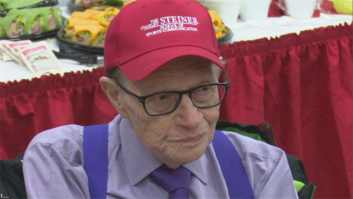 Larry King supporting Charley Steiner School of Sports Communication