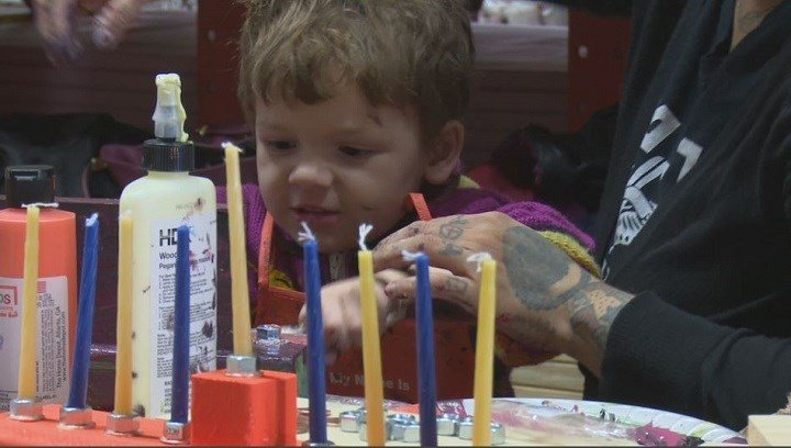 Supplies of all kinds were on hand at the menorah workshop, helping kids light up the holidays