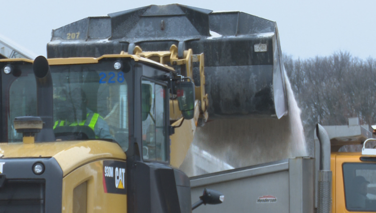 Public Works salt trucks stocking up to protect the roads