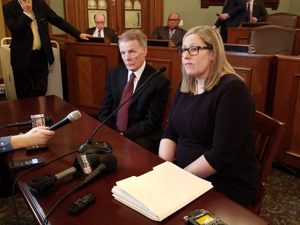 Illinois House Speaker Michael Madigan (D-Chicago), left and his attorney Heather Wier Vaught at a Tuesday press conference in Springfield.