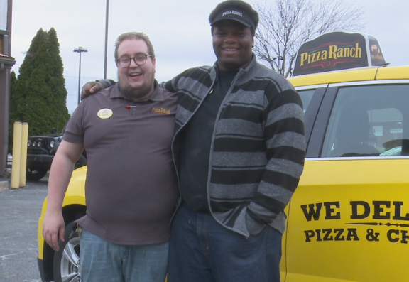 Jace Perreault, Pizza Ranch Manager alongside employee, Jarvis Phipps