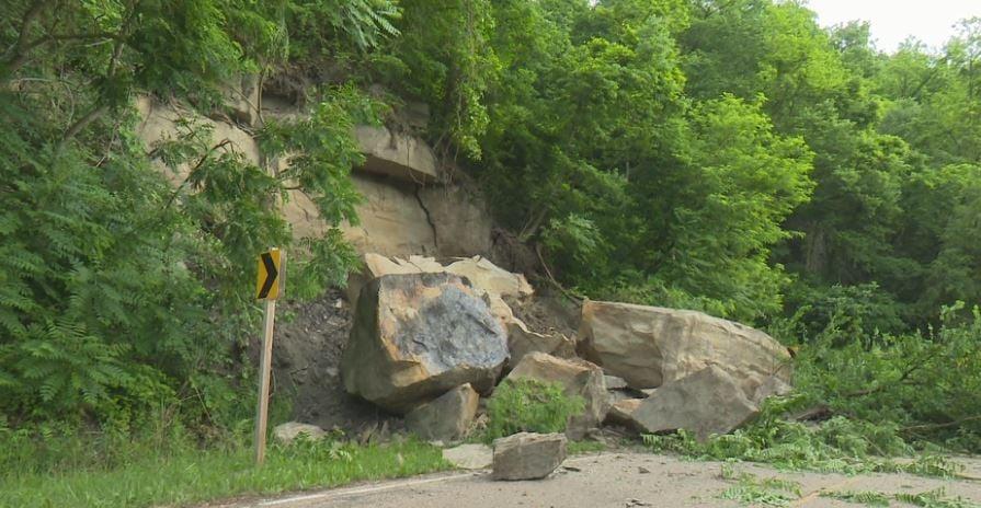 Rock slide on Kickapoo Creek road