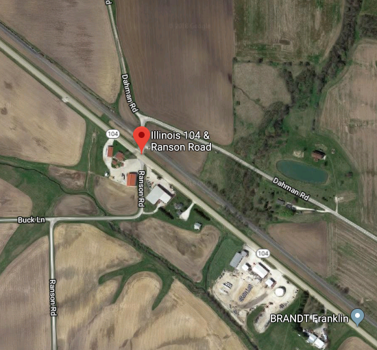Intersection of IL-104 and Ranson Road.