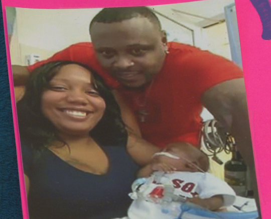 Domonique Gulley, and child Lavar pictured with late boyfriend