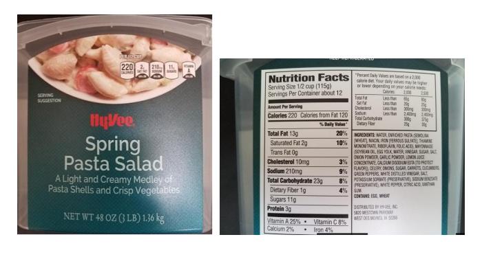 Sample label for Hyvee Spring Salad