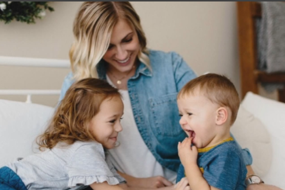 Jenni McGruder, pictured with her two children