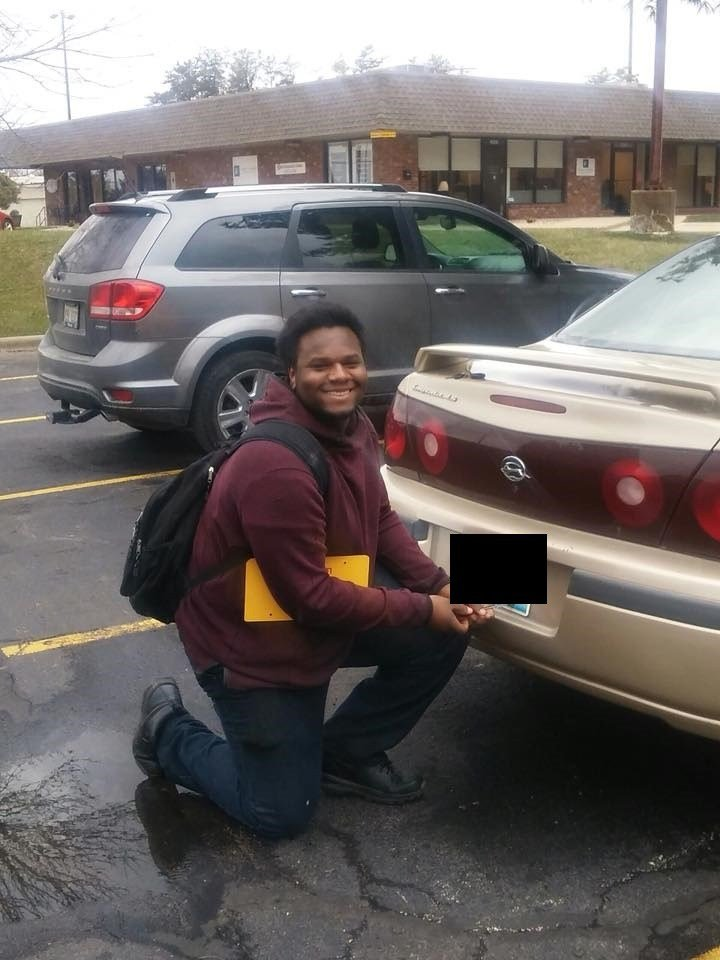 """Jarvis Phipps and his brand """"new"""" wheels."""